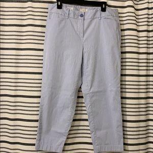 Loft Blue & White Pinstripe Original Crop Pants